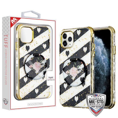 MyBat TUFF Kleer Hybrid Case (with Mirror) for Apple iPhone 11 Pro - Love Roses / Electroplating Gold
