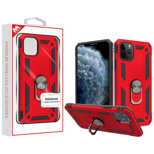 MyBat Anti-Drop Hybrid Protector Cover (with Ring Stand) for Apple iPhone 11 Pro - Red / Black