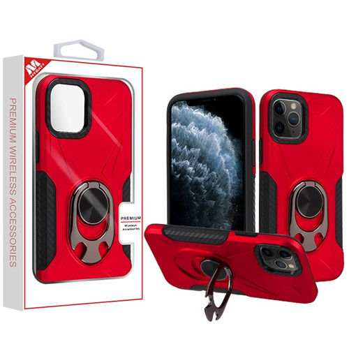 MyBat Hybrid Protector Cover (with Ring Holder Kickstand Bottle) for Apple iPhone 11 Pro - Red / Black