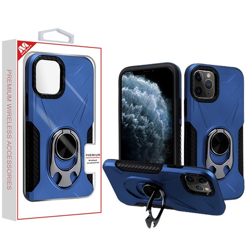 MyBat Hybrid Protector Cover (with Ring Holder Kickstand Bottle) for Apple iPhone 11 Pro - Ink Blue / Black