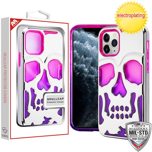 MyBat SKULLCAP Lucid Hybrid Protector Cover [Military-Grade Certified] for Apple iPhone 11 Pro - Silver Plating / Hot Pink / Purple