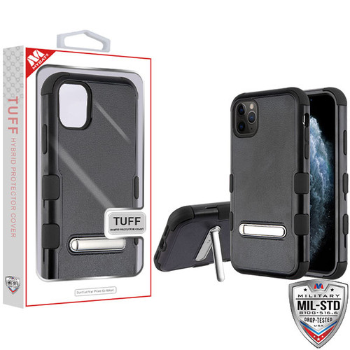 MyBat TUFF Hybrid Protector Cover (with Magnetic Metal Stand)[Military-Grade Certified] for Apple iPhone 11 Pro - Natural Black / Black