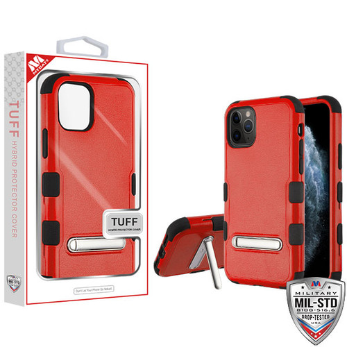 MyBat TUFF Hybrid Protector Cover (with Magnetic Metal Stand)[Military-Grade Certified] for Apple iPhone 11 Pro - Natural Red / Black