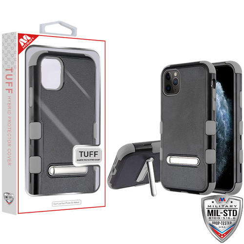 MyBat TUFF Hybrid Protector Cover (with Magnetic Metal Stand)[Military-Grade Certified] for Apple iPhone 11 Pro - Natural Black / Iron Gray