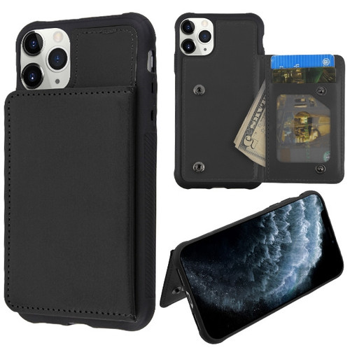 MyBat Flip Wallet Executive Protector Cover(TPU Case with Snap Fasteners) for Apple iPhone 11 Pro - Black
