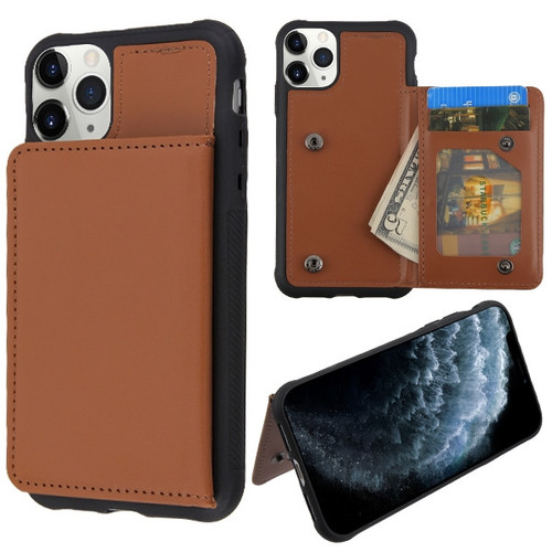MyBat Flip Wallet Executive Protector Cover(TPU Case with Snap Fasteners) for Apple iPhone 11 Pro - Brown