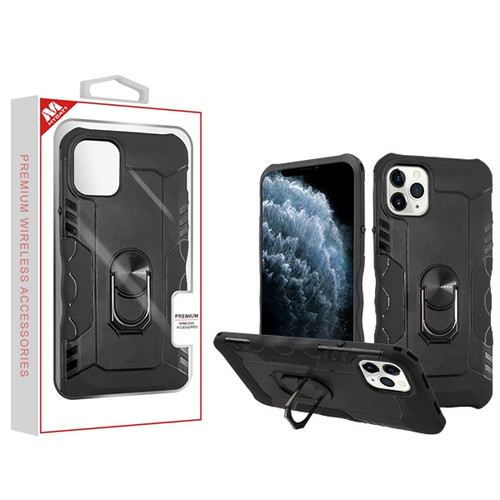 MyBat Hybrid Protector Cover (with Ring Stand) for Apple iPhone 11 Pro - Black / Black