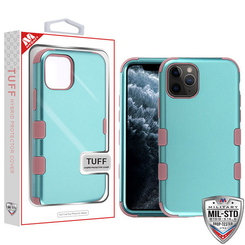 MyBat TUFF Hybrid Protector Cover [Military-Grade Certified] for Apple iPhone 11 Pro - Aquamarine / Red Wood