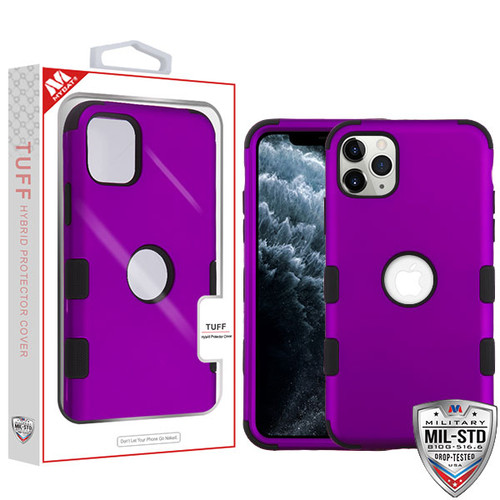 MyBat TUFF Hybrid Protector Cover [Military-Grade Certified] for Apple iPhone 11 Pro - Rubberized Grape / Black