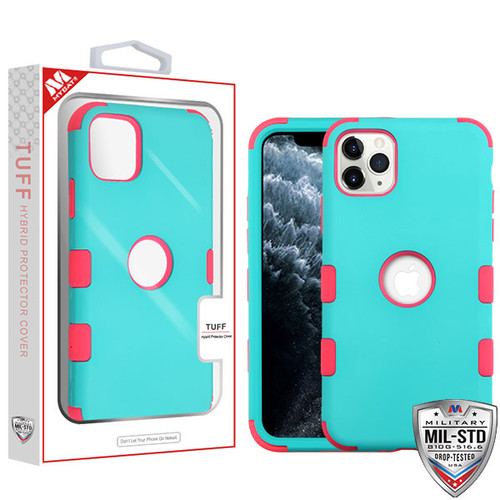 MyBat TUFF Hybrid Protector Cover [Military-Grade Certified] for Apple iPhone 11 Pro - Rubberized Teal Green / Electric Pink