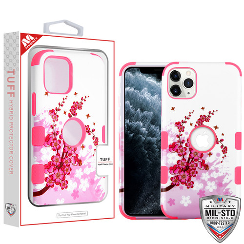 MyBat TUFF Hybrid Protector Cover [Military-Grade Certified] for Apple iPhone 11 Pro - Spring Flowers / Electric Pink