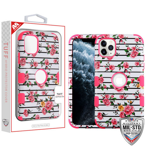 MyBat TUFF Hybrid Protector Cover [Military-Grade Certified] for Apple iPhone 11 Pro - Pink Fresh Roses / Electric Pink