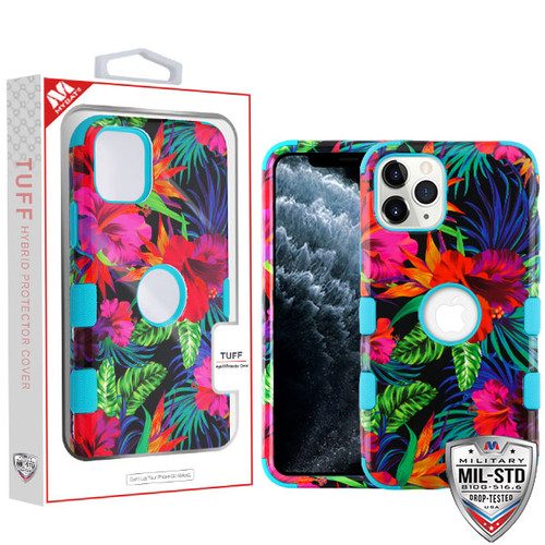 MyBat TUFF Hybrid Protector Cover [Military-Grade Certified] for Apple iPhone 11 Pro - Electric Hibiscus / Tropical Teal