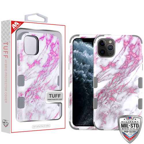 MyBat TUFF Hybrid Protector Cover [Military-Grade Certified] for Apple iPhone 11 Pro - Pink Marbling / Iron Gray