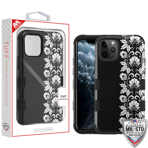 MyBat TUFF Hybrid Protector Cover [Military-Grade Certified] for Apple iPhone 11 Pro - Silver Floral Stripe / Black