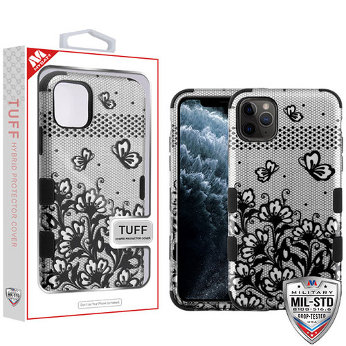 MyBat TUFF Hybrid Protector Cover [Military-Grade Certified] for Apple iPhone 11 Pro - Black Lace Flowers (2D Silver) / Black