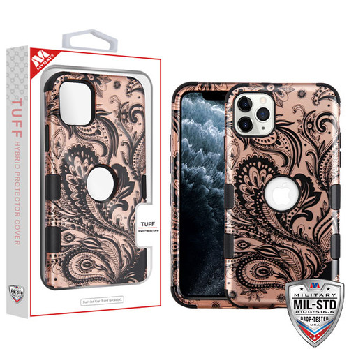 MyBat TUFF Hybrid Protector Cover [Military-Grade Certified] for Apple iPhone 11 Pro - Phoenix Flower (2D Rose Gold) / Black