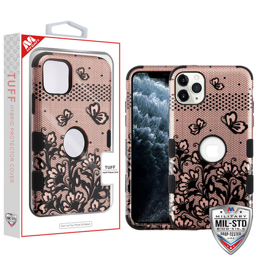 MyBat TUFF Hybrid Protector Cover [Military-Grade Certified] for Apple iPhone 11 Pro - Black Lace Flowers (2D Rose Gold) / Black