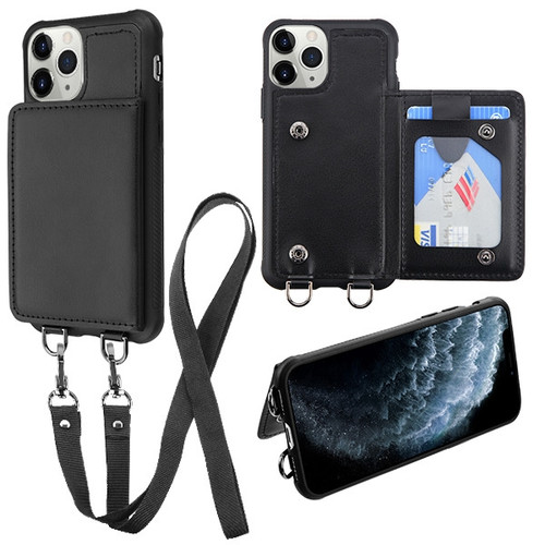 MyBat Suspend Wallet Cover (with Snap Fasteners)(with Lanyard) for Apple iPhone 11 Pro - Black