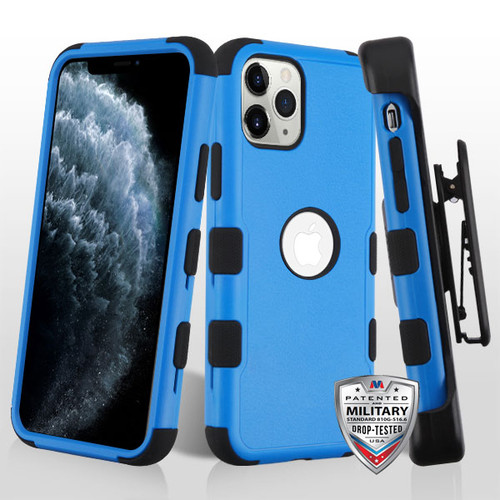 MyBat TUFF Hybrid Protector Case [Military-Grade Certified](with Black Horizontal Holster) for Apple iPhone 11 Pro - Natural Dark Blue / Black