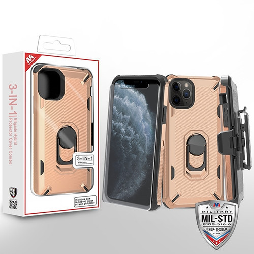 MyBat 3-in-1 Brigade Hybrid Protector Cover Combo (with Black Holster)(with Ring Stand)(Tempered Glass Screen Protector) for Apple iPhone 11 Pro - Rose Gold / Black