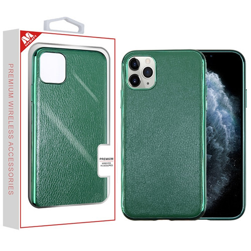 MyBat Leather Backing Protector Cover for Apple iPhone 11 Pro - Green Electroplating