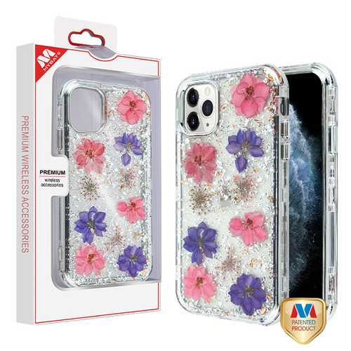 MyBat TUFF Kleer Hybrid Case for Apple iPhone 11 Pro - Pink and Purple Flowers & Silver Flakes / Electroplating Silver Real Flowers