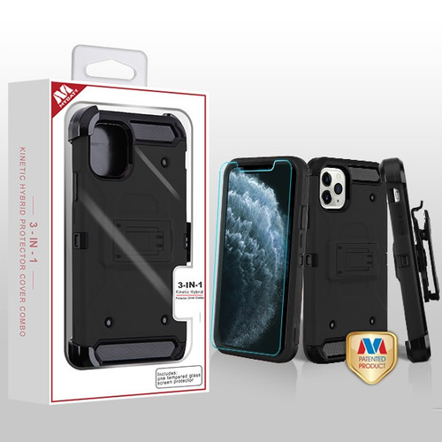 MyBat 3-in-1 Kinetic Hybrid Protector Cover Combo (with Black Holster)(Tempered Glass Screen Protector) for Apple iPhone 11 Pro - Black / Black