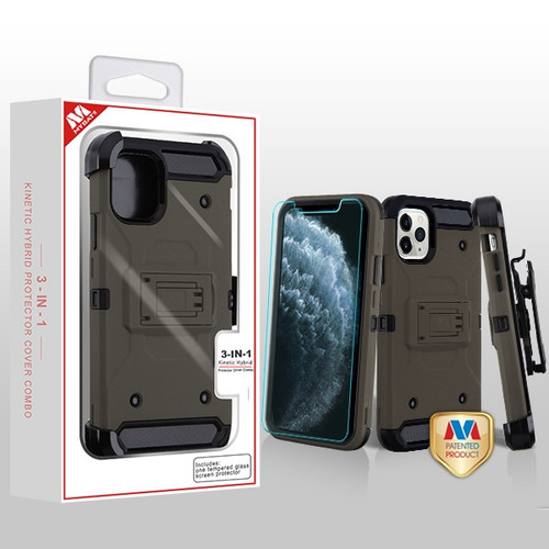 MyBat 3-in-1 Kinetic Hybrid Protector Cover Combo (with Black Holster)(Tempered Glass Screen Protector) for Apple iPhone 11 Pro - Dark Grey / Black