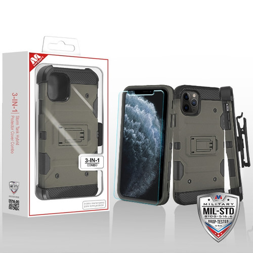 MyBat 3-in-1 Storm Tank Hybrid Protector Cover Combo (with Black Holster)(Tempered Glass Screen Protector)[Military-Grade Certified] for Apple iPhone 11 Pro - Dark Grey / Black