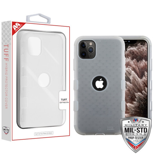 MyBat TUFF Hybrid Protector Cover [Military-Grade Certified] for Apple iPhone 11 Pro Max - Semi Transparent White Frosted / Transparent White
