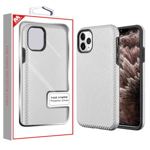 MyBat Fuse Hybrid Protector Cover for Apple iPhone 11 Pro Max - Silver Carbon Fiber Texture / Black