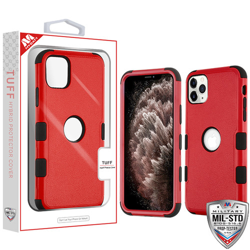 MyBat TUFF Hybrid Protector Cover [Military-Grade Certified] for Apple iPhone 11 Pro Max - Natural Red / Black