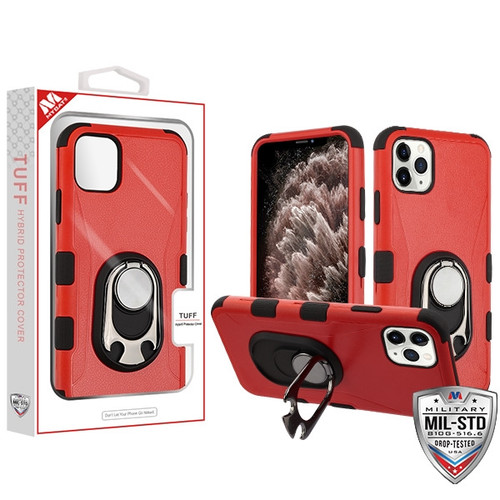 MyBat TUFF Hybrid Protector Cover (with Ring Holder Kickstand Bottle)[Military-Grade Certified] for Apple iPhone 11 Pro Max - Natural Red / Black