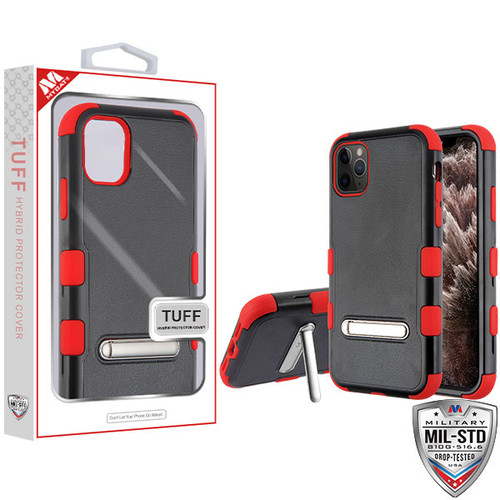 MyBat TUFF Hybrid Protector Cover (with Magnetic Metal Stand)[Military-Grade Certified] for Apple iPhone 11 Pro Max - Natural Black / Red