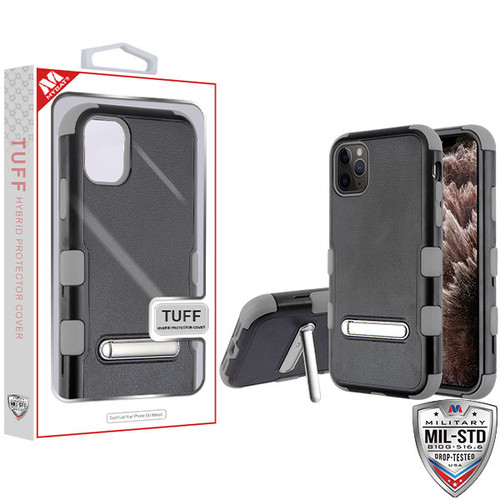 MyBat TUFF Hybrid Protector Cover (with Magnetic Metal Stand)[Military-Grade Certified] for Apple iPhone 11 Pro Max - Natural Black / Iron Gray