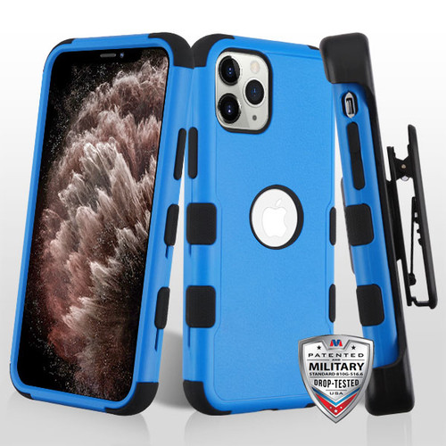 MyBat TUFF Hybrid Protector Case [Military-Grade Certified](with Black Horizontal Holster) for Apple iPhone 11 Pro Max - Natural Dark Blue / Black