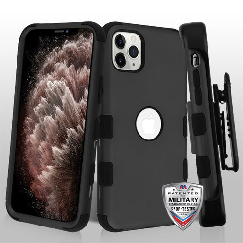 MyBat TUFF Hybrid Protector Case [Military-Grade Certified](with Black Horizontal Holster) for Apple iPhone 11 Pro Max - Rubberized Black / Black