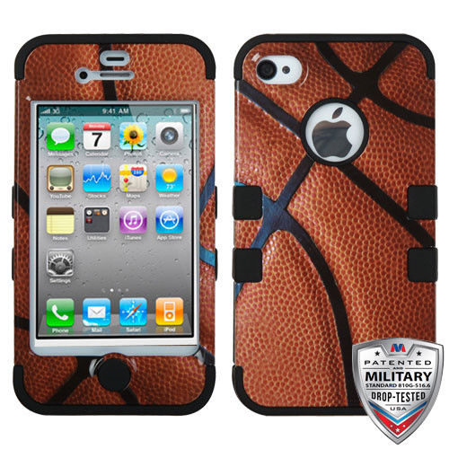 MyBat TUFF Hybrid Protector Cover [Military-Grade Certified] for Apple iPhone 4s/4 - Basketball-Sports Collection / Black