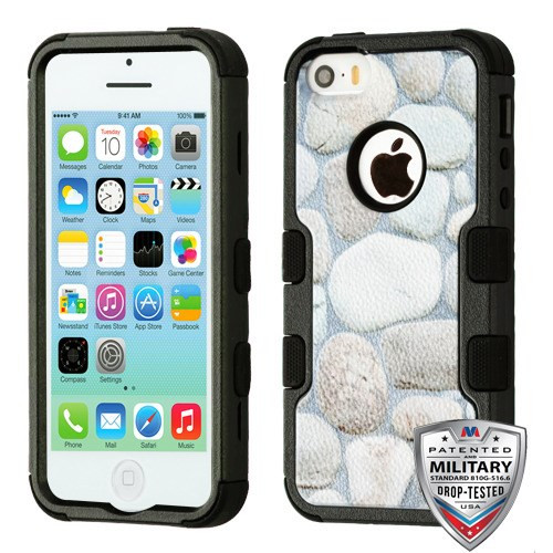 MyBat TUFF Hybrid Protector Cover [Military-Grade Certified] for Apple iPhone 5c - Rocky Pebbles / Black