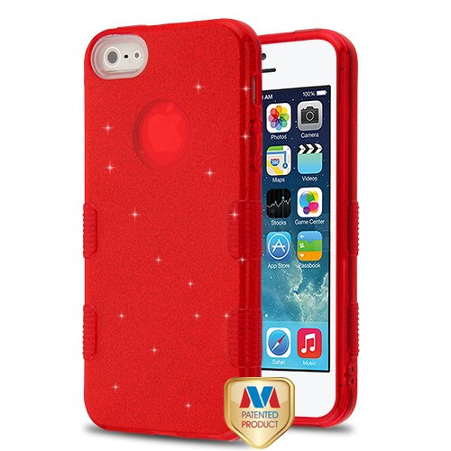 MyBat Full Glitter TUFF Hybrid Protector Cover for Apple iPhone 5s/5 - Red