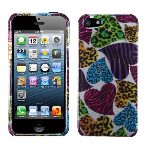 MyBat Protector Cover for Apple iPhone 5s/5 - Jungle Hearts (2D Silver)