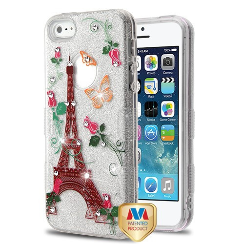 MyBat Full Glitter TUFF Hybrid Protector Cover for Apple iPhone 5s/5 - Paris Monarch Butterflies Diamante