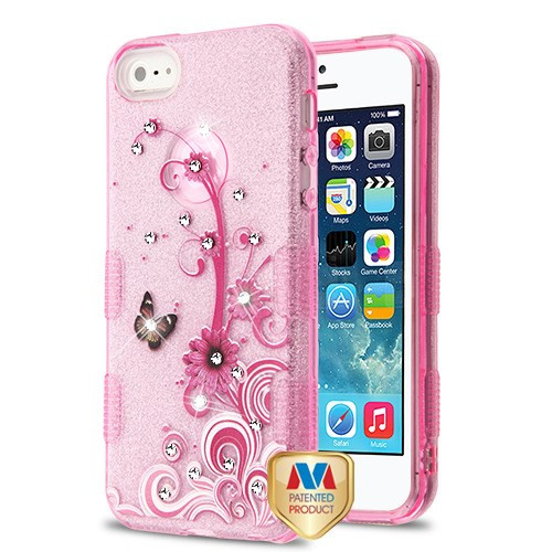 MyBat Full Glitter TUFF Hybrid Protector Cover for Apple iPhone 5s/5 - Butterfly Flowers (Pink) Diamante