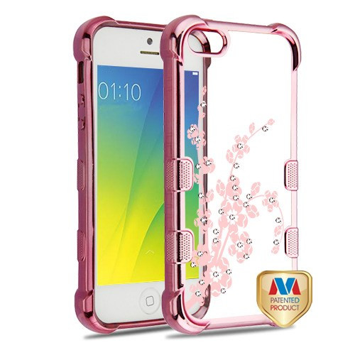 MyBat TUFF Klarity Candy Skin Cover (with Package) for Apple iPhone 5s/5 - Rose Gold Plating & Spring Flowers Diamante