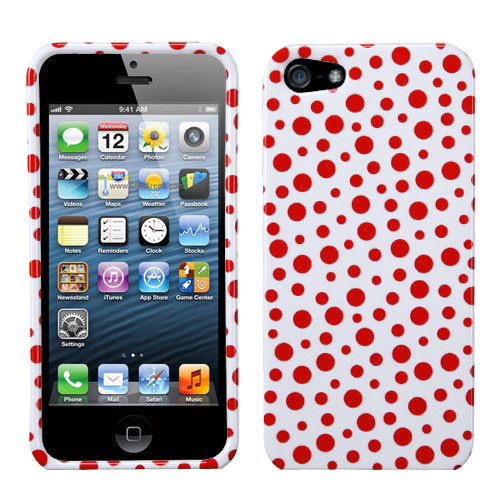 MyBat Protector Cover for Apple iPhone 5s/5 - Red Mixed Polka Dots