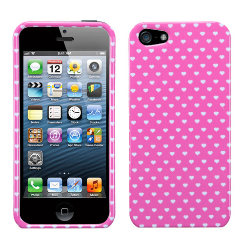 MyBat Protector Cover for Apple iPhone 5s/5 - Pink Vintage Heart Dots