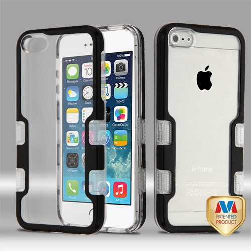 MyBat TUFF Panoview Hybrid Protector Cover for Apple iPhone 5s/5 - Metallic Black / Transparent Clear
