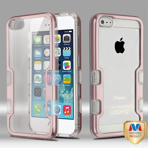 MyBat TUFF Panoview Hybrid Protector Cover for Apple iPhone 5s/5 - Metallic Rose Gold / Transparent Clear