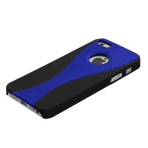 MyBat Wave Back Protector Cover (Rubberized) for Apple iPhone 5s/5 - Blue / Black